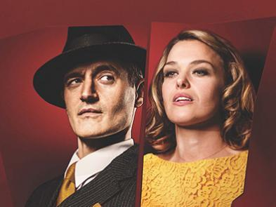 Red background with portraits of Tom Chambers and Sally Bretton.