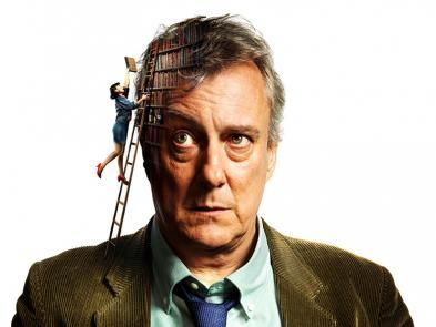 A close up picture of a man in a suit. There is an image of a bookshelf superimposed on his head. A small woman climbs a ladder on his shoulder to place a book on the bookshelf.
