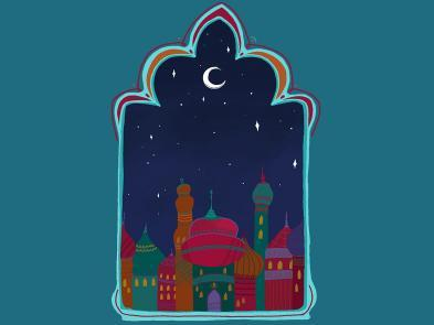 A window within a teal background. Through the window you can see a collection of middle-eastern buildings.