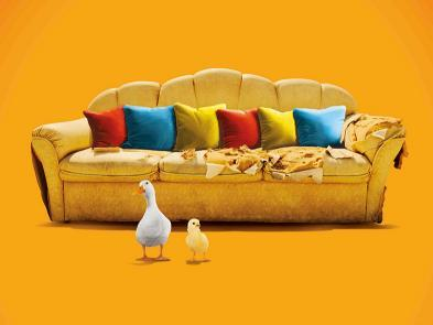 An orange background with a brown sofa with coloured cushions. A duck and a chick stand in front of it.