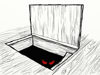 A hand-drawn image of a trap door with two red eyes appearing through the door.
