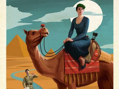 A illustration of a woman sitting astride a camel.