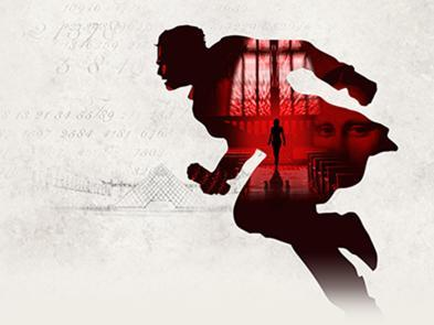 The silhouette of a man in red running, with an overlay of codes, and a door