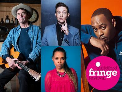 Headshots of Rich Hall, Stephen Bailey, Dane Baptiste & Ria Lina
