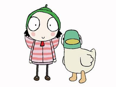 A cartoon image of a young girl and a duck